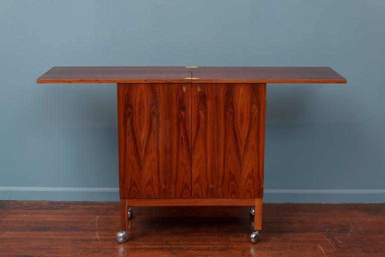 Norwegian Scandinavian Modern Rosewood Bar Cabinet by Torbjorn Afdal for Bruskbo For Sale