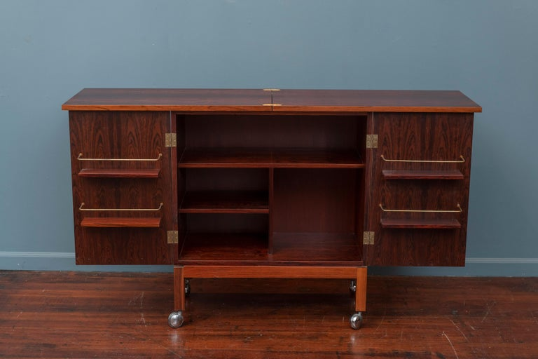 Mid-20th Century Scandinavian Modern Rosewood Bar Cabinet by Torbjorn Afdal for Bruskbo For Sale