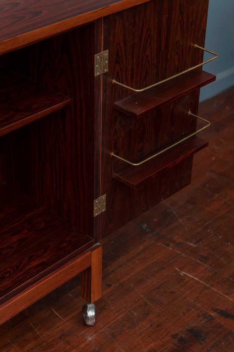 Scandinavian Modern Rosewood Bar Cabinet by Torbjorn Afdal for Bruskbo For Sale 1
