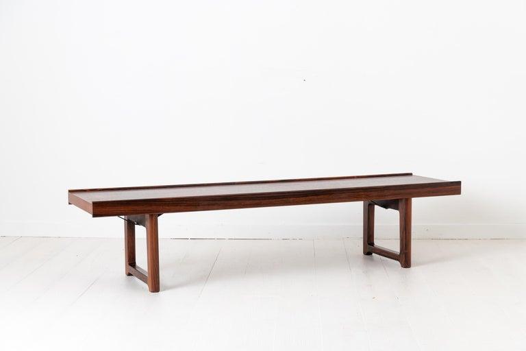 Norwegian Scandinavian Modern Rosewood Bench by Torbjørn Afdal for Bruksbo For Sale