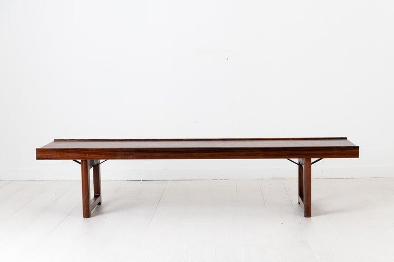 Scandinavian Modern Rosewood Bench by Torbjørn Afdal for Bruksbo In Good Condition For Sale In Kramfors, SE