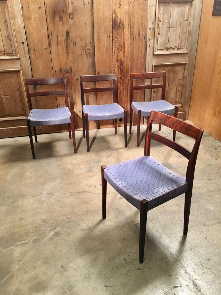 Scandinavian Modern Rosewood Dining Chairs In Good Condition For Sale In Laguna Hills, CA
