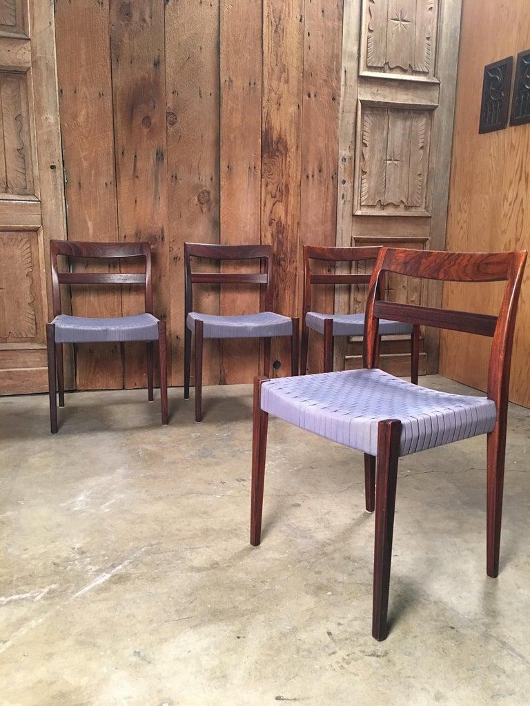 Linen Scandinavian Modern Rosewood Dining Chairs For Sale