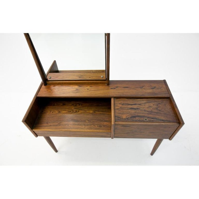 Danish Vanity Scandinavian Modern Rosewood Dressing Table with Mirror, 1970s For Sale