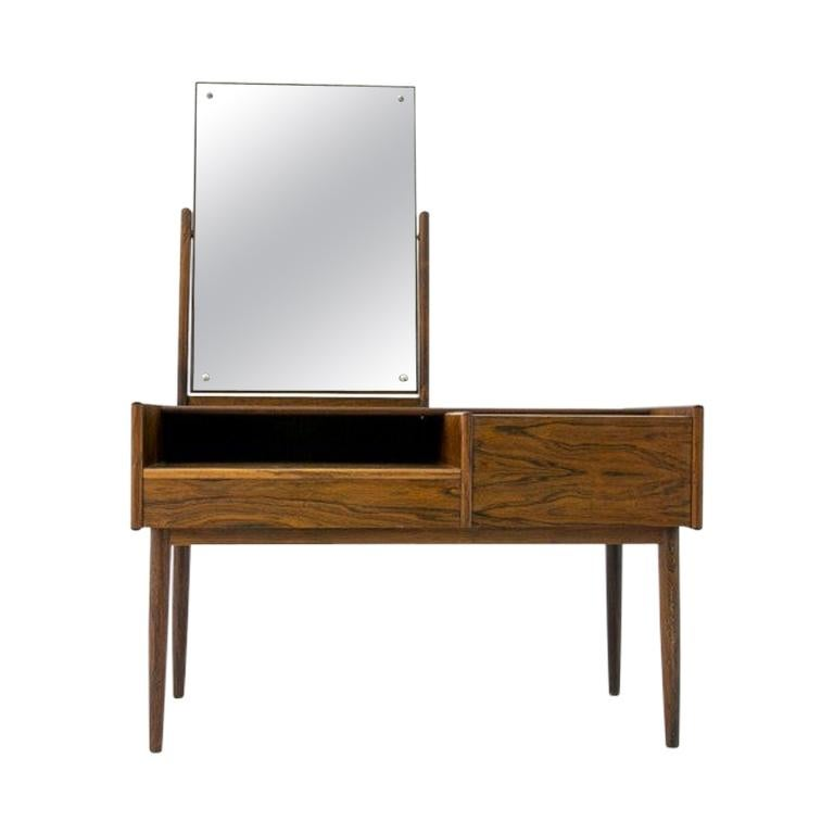 Vanity Scandinavian Modern Rosewood Dressing Table with Mirror, 1970s For Sale