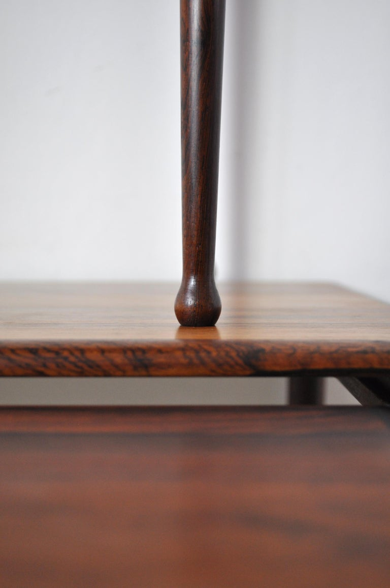 Scandinavian Modern Rosewood Nesting Tables with Drumstick Legs For Sale 6