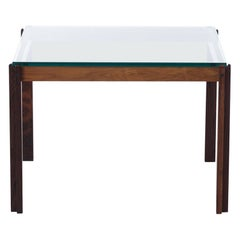 Scandinavian Modern Rosewood Occasional Table with Inset Glass Top