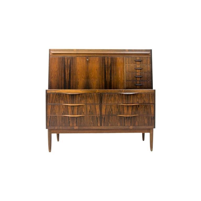 Scandinavian Modern Rosewood Secretary Desk by Ib Kofod-Larsen For Sale