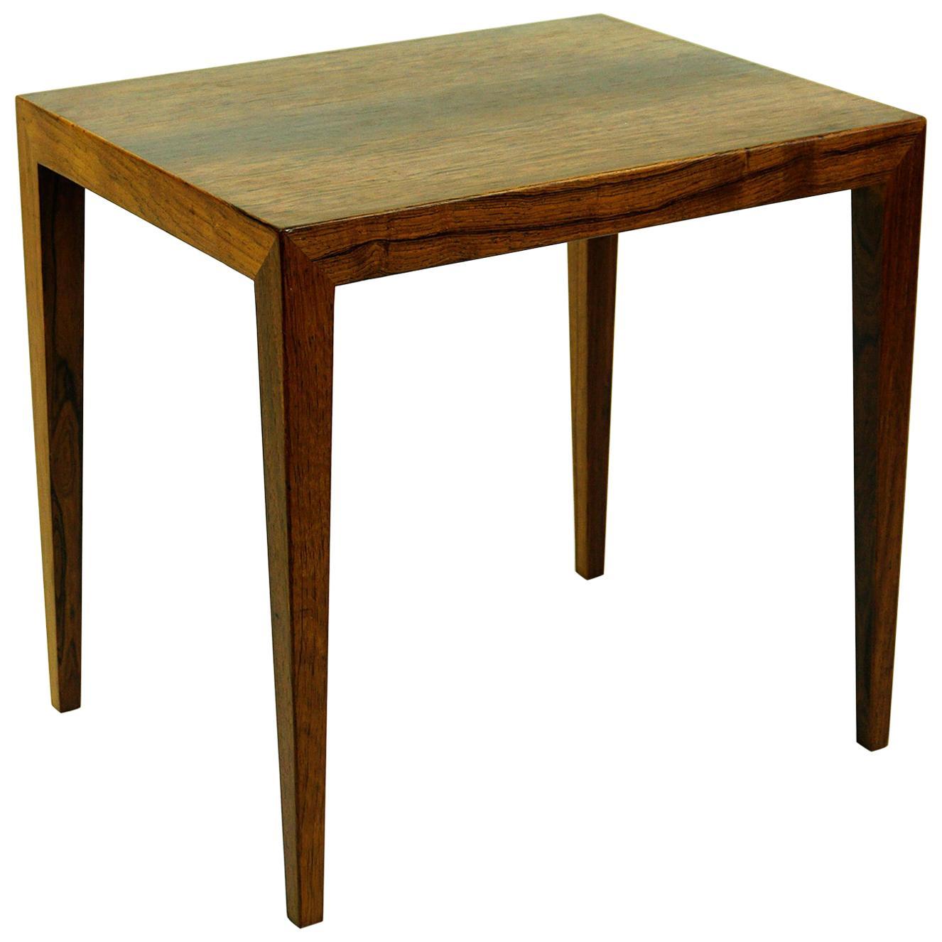Scandinavian Modern Rosewood Side Table by Severin Hansen for Haslev