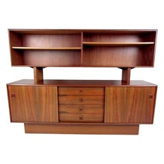 Scandinavian Modern Rosewood Sideboard with Cupboard Top Bookshelf