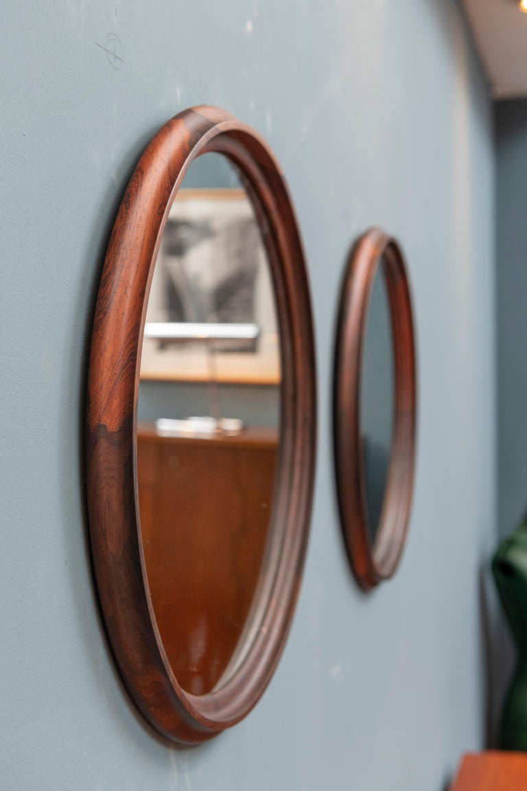 Scandinavian Modern Rosewood Wall Mirrors In Excellent Condition For Sale In San Francisco, CA