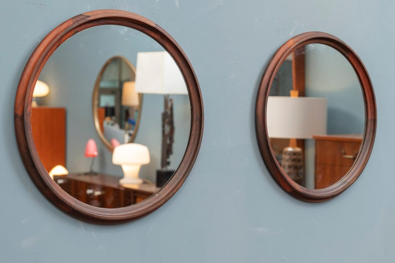 Mid-20th Century Scandinavian Modern Rosewood Wall Mirrors For Sale