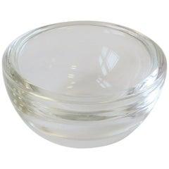 Scandinavian Modern Round Clear Art Glass Bowl