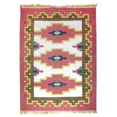Scandinavian Modern Rug, Swedish Kilim, Rollakan, Flat-Weave Carpet