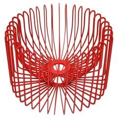 Scandinavian Modern Sculptural Red Metal Bowl, Centerpiece Made in Sweden 1980s