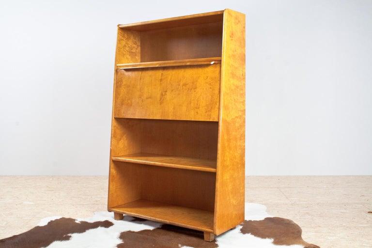 Swedish Scandinavian Modern Secretaire or Writing Cabinet in Birch, Sweden, 1951 For Sale