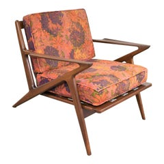 Scandinavian Modern Selig Z Lounge Chair by Poul Jensen Walnut Original Fabric
