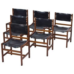 Scandinavian Modern, Set of 6 Danish Chairs in Teak and Saddle Leather