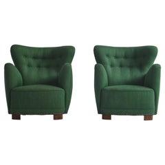 Scandinavian Modern Set of Fritz Hansen Easy Chairs, 1940s, Denmark