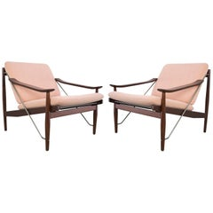 Scandinavian Modern Set of Lounge Chairs in Teak and Metal