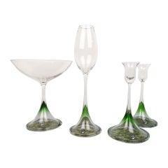 Scandinavian Modern Set of Orrefors Tulip, Green-Clear Glass Nils Landberg