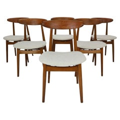 Scandinavian Modern Set of Six Danish Teak Dining Room Chairs, 1960s