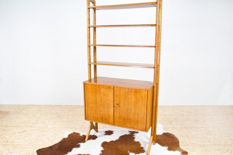 Swedish Scandinavian Modern Shelving Unit or Wall System in Oak Freestanding, 1950s For Sale
