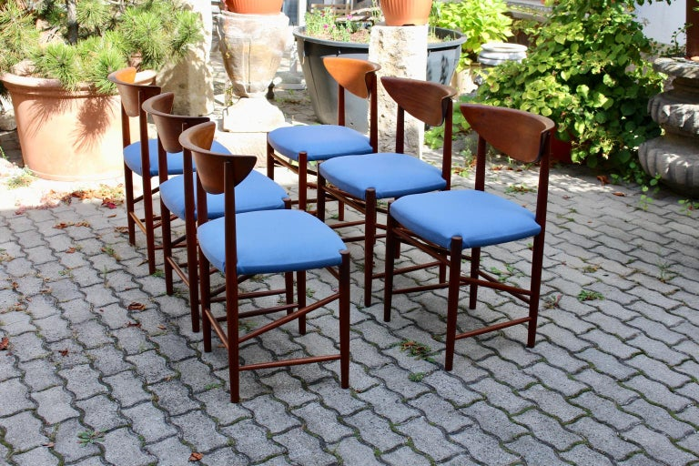 Scandinavian Modern Six Vintage Teak Dining Chairs Peter Hvidt, Denmark For Sale 4