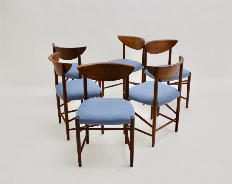 Scandinavian Modern Six Vintage Teak Dining Chairs Peter Hvidt, Denmark For Sale 6