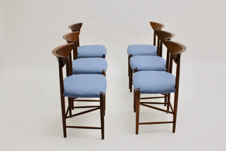 Scandinavian Modern Six Vintage Teak Dining Chairs Peter Hvidt, Denmark For Sale 7