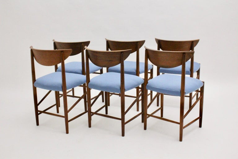 Scandinavian Modern Six Vintage Teak Dining Chairs Peter Hvidt, Denmark For Sale 8