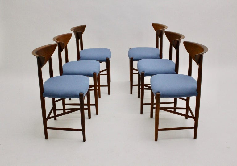 Scandinavian Modern Six Vintage Teak Dining Chairs Peter Hvidt, Denmark For Sale 9