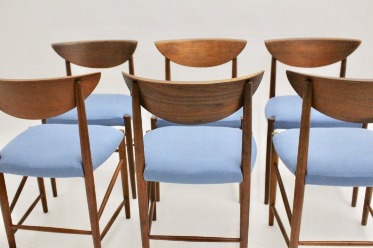 Scandinavian Modern Six Vintage Teak Dining Chairs Peter Hvidt, Denmark For Sale 12