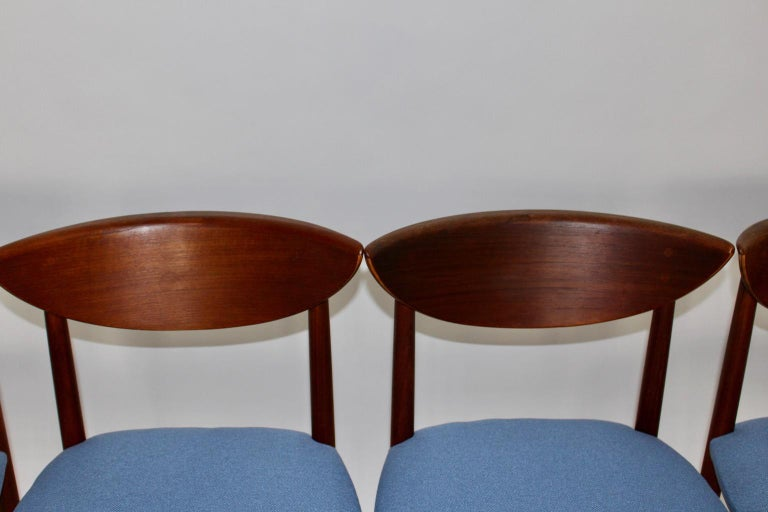 Scandinavian Modern Six Vintage Teak Dining Chairs Peter Hvidt, Denmark For Sale 14