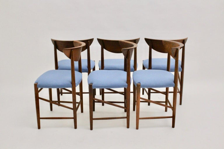 Danish Scandinavian Modern Six Vintage Teak Dining Chairs Peter Hvidt, Denmark For Sale