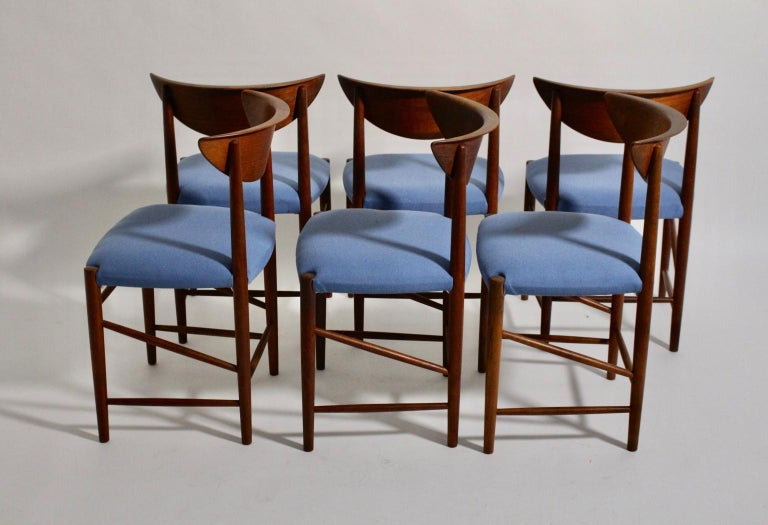 20th Century Scandinavian Modern Six Vintage Teak Dining Chairs Peter Hvidt, Denmark For Sale