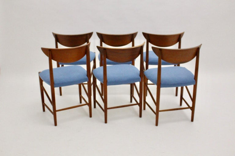 Fabric Scandinavian Modern Six Vintage Teak Dining Chairs Peter Hvidt, Denmark For Sale