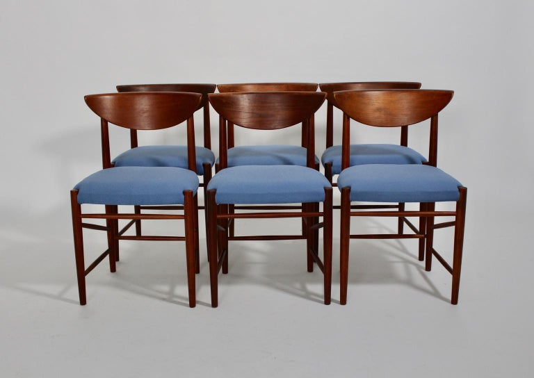 Scandinavian Modern Six Vintage Teak Dining Chairs Peter Hvidt, Denmark For Sale 1