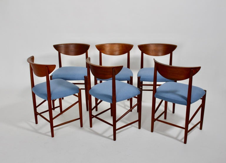 Scandinavian Modern Six Vintage Teak Dining Chairs Peter Hvidt, Denmark For Sale 2