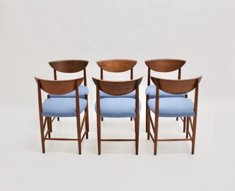 Scandinavian Modern Six Vintage Teak Dining Chairs Peter Hvidt, Denmark For Sale 3