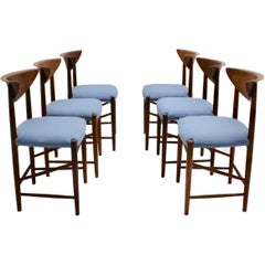 Scandinavian Modern Six Vintage Teak Dining Chairs or Chairs Peter Hvidt Denmark