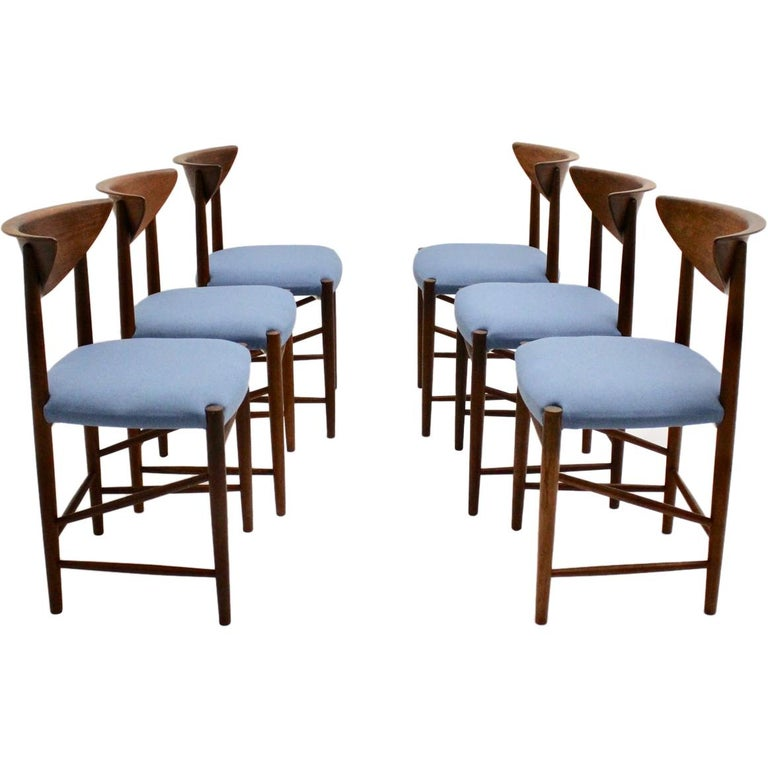 Scandinavian Modern Six Vintage Teak Dining Chairs Peter Hvidt, Denmark For Sale