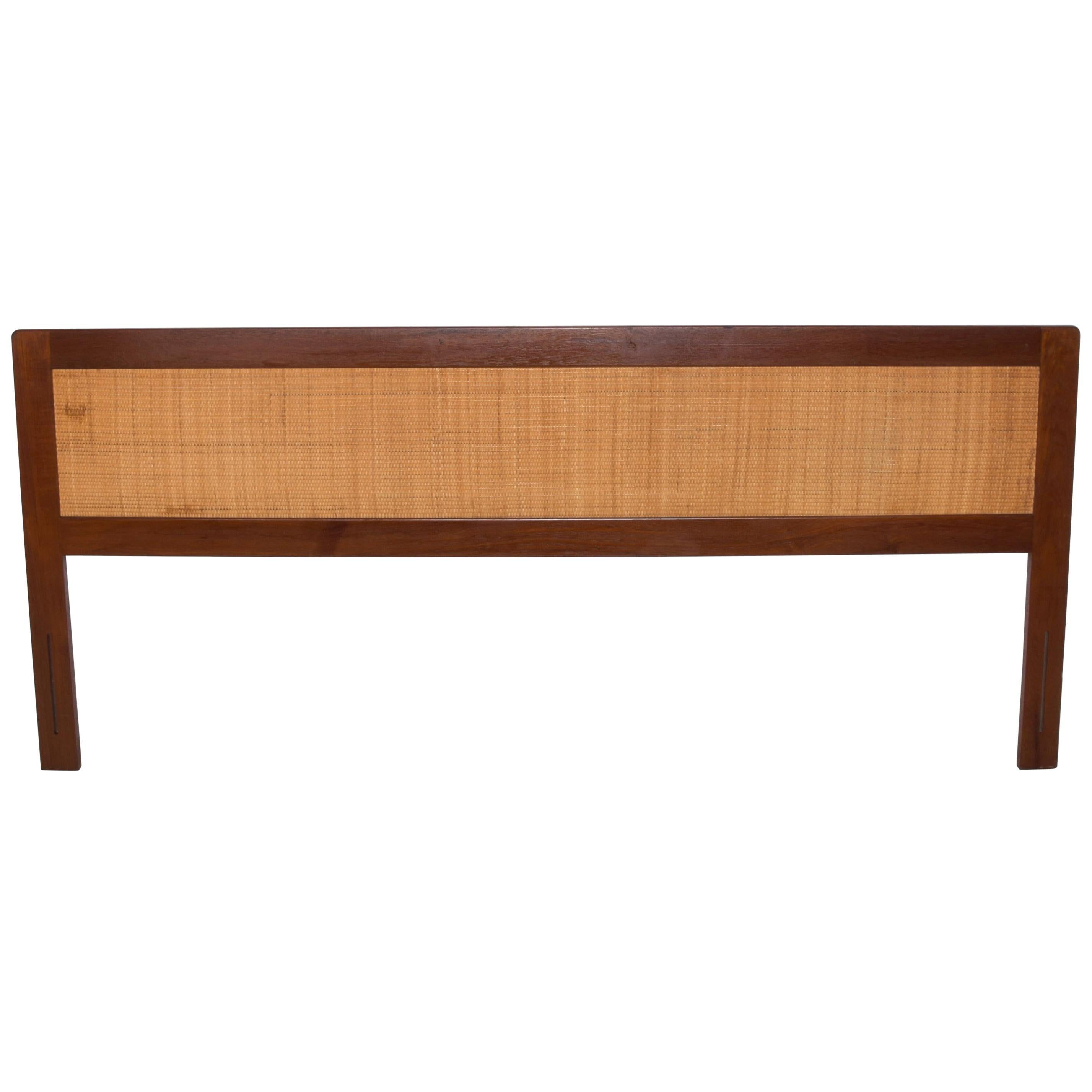 Scandinavian Modern Sleek Teak Wood Cane Back King Size Headboard 1960s Denmark