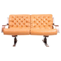 Scandinavian Modern Sofa in Patinated Leather, Midcentury Design, 1960s