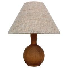Scandinavian Modern Solid Teak Drop Shade Table Lamp, 1960s