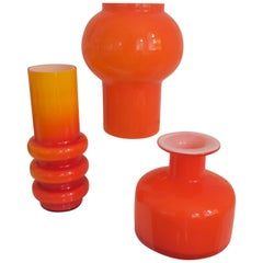 Scandinavian Modern Space Age/Sputnik Orange Table Lamp Cased Glass Early 1970