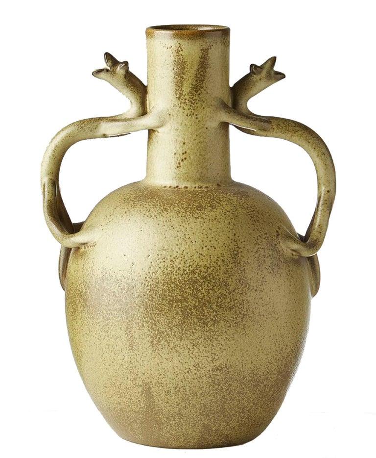 Swedish Scandinavian Modern Speckled Vase with Handles, Ewald Dahlskog for Bo Fajans For Sale