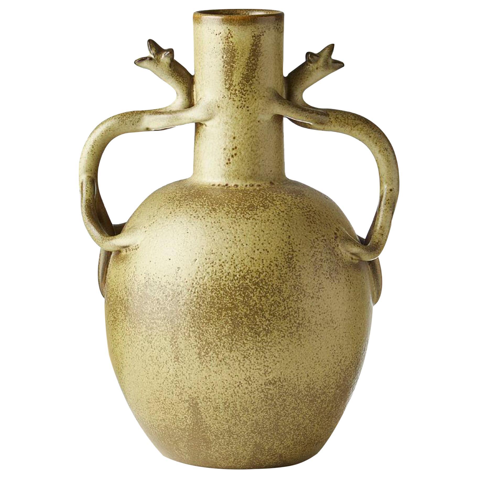 Scandinavian Modern Speckled Vase with Handles, Ewald Dahlskog for Bo Fajans