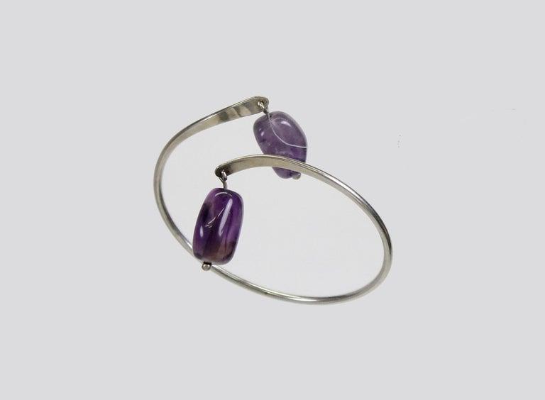 Scandinavian Modern Sterling Silver and Amethyst Bracelet, Borgila, Sweden, 1959 In Good Condition For Sale In Skanninge, SE