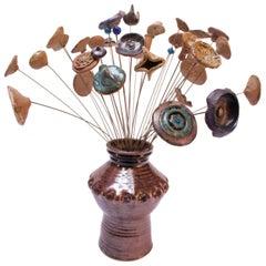 Scandinavian Modern Stoneware Flower Arrangement Kinetic Sculpture Signed